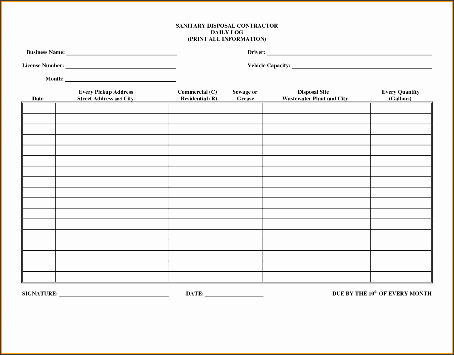 daily activities log template excel