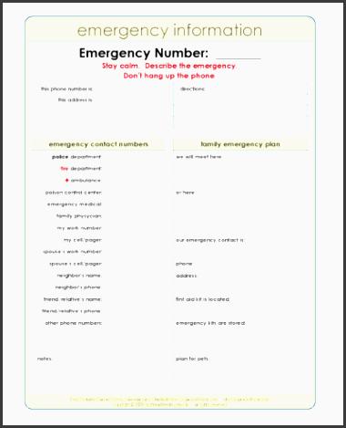 printable emergency plan template