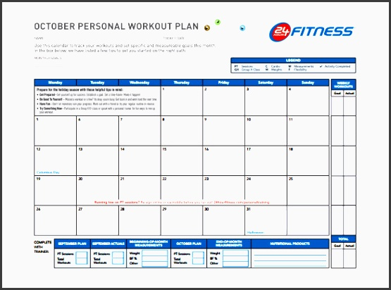persnol workout plan schedule template