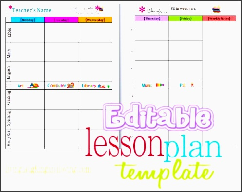 cute lesson plan template free editable