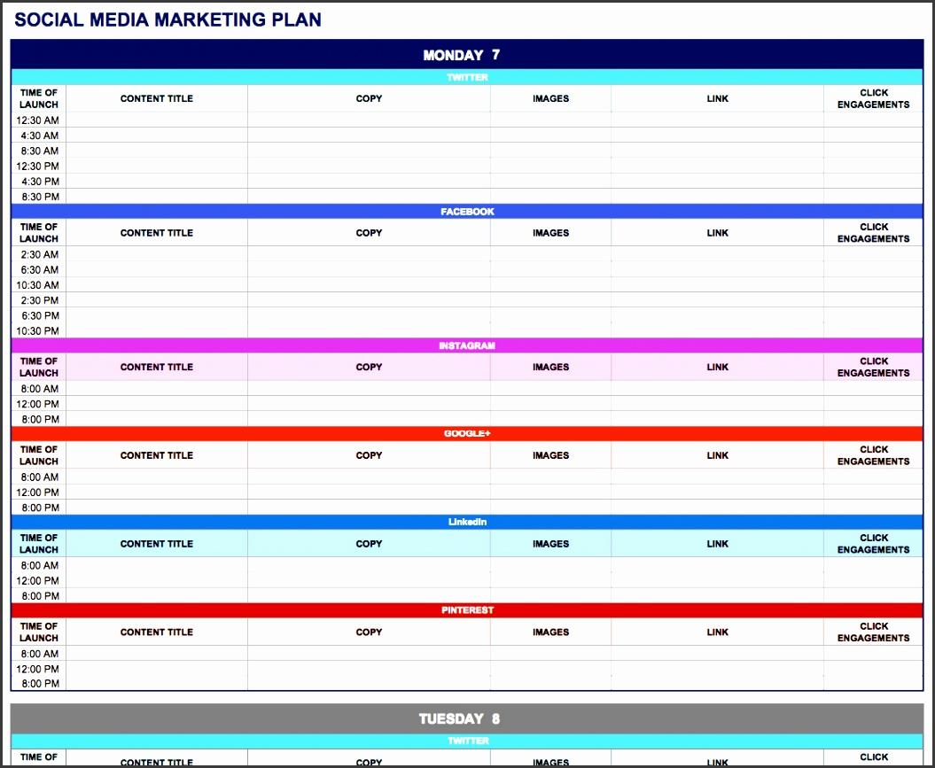 social media marketing plan excel