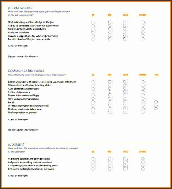 employee skills assessment template form pictures