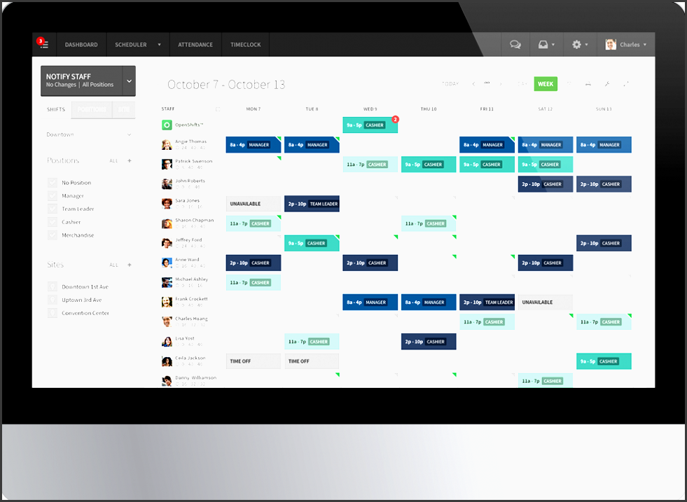 employee scheduling software screenshot of the shift planning and workforce management staff scheduler for when