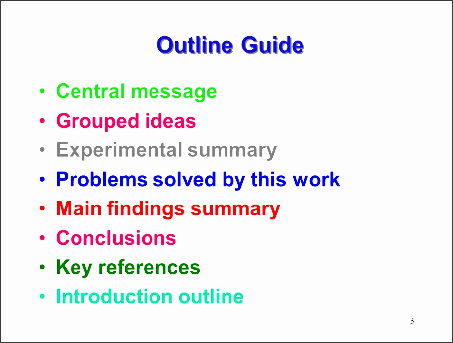 3 3 outline guide central message grouped ideas experimental summary problems solved by this work main findings summary conclusions key references