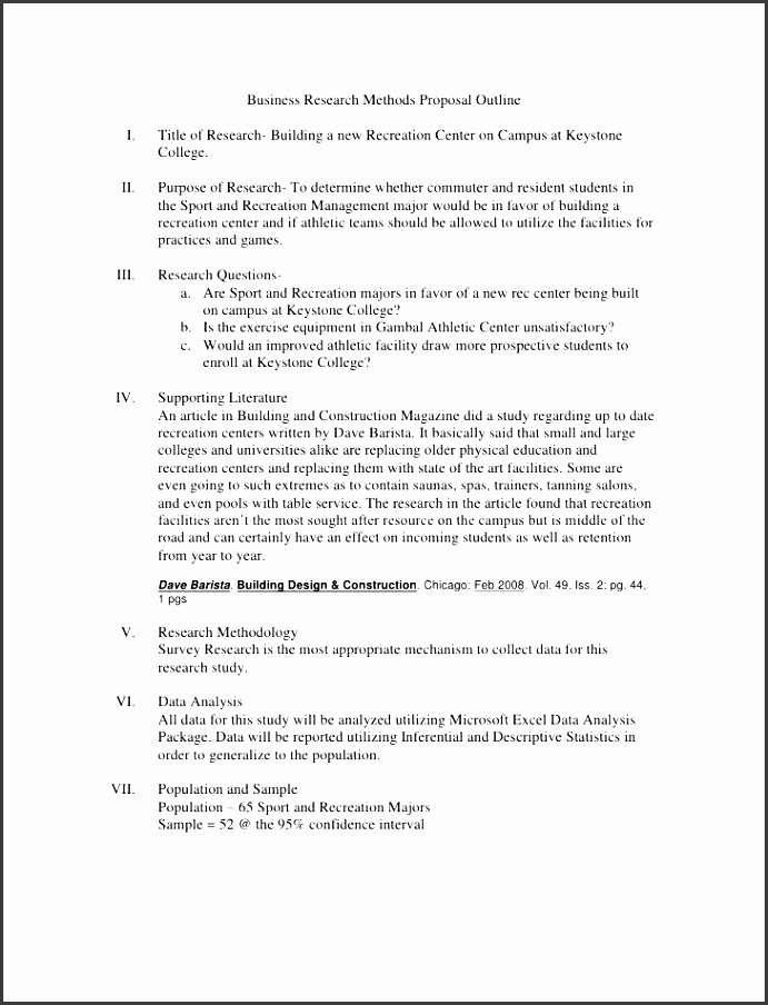 business research methods proposal outline br ul li title of research building a new recreation center on campus at k