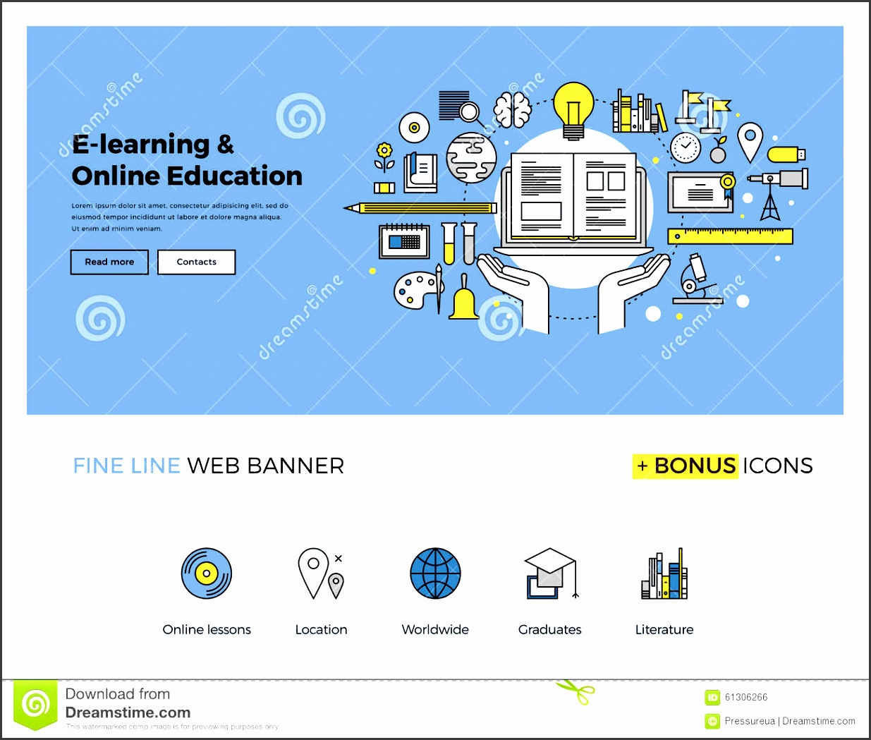 flat line design of web banner template with outline icons of online