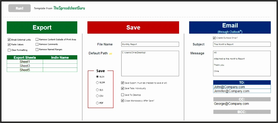 the exporter excel template automate saving exporting emailing