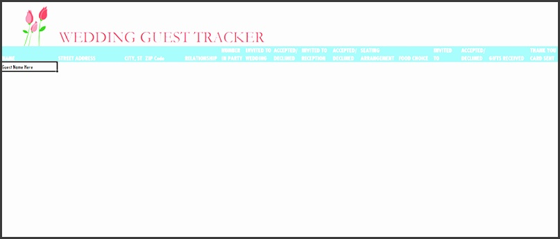 wedding guest list template example