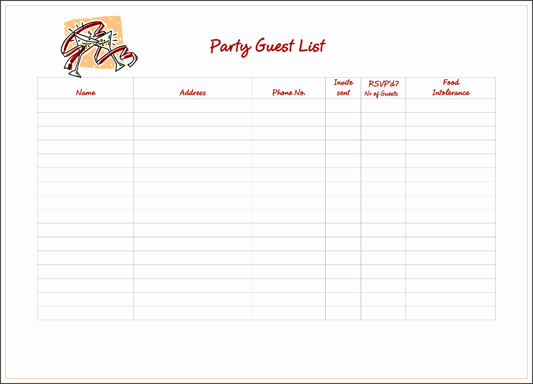 birthday party guest list doc 5 party guest list template bizdoska template