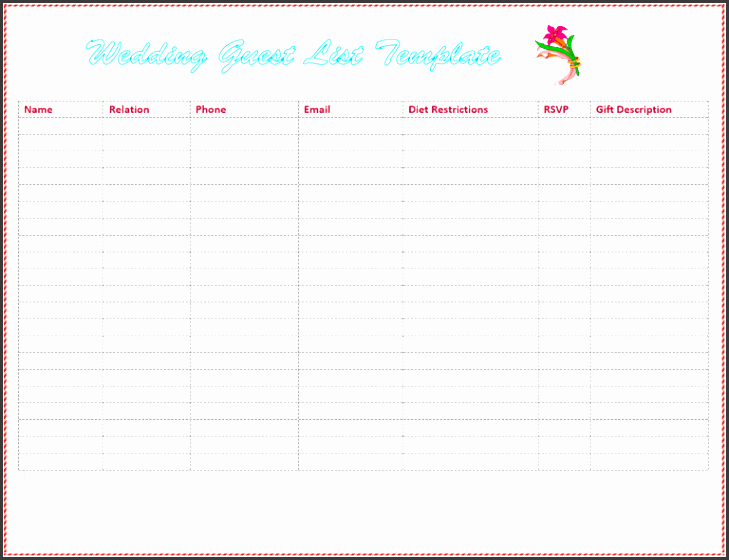 wedding invite list template 7 free wedding guest list templates and managers free