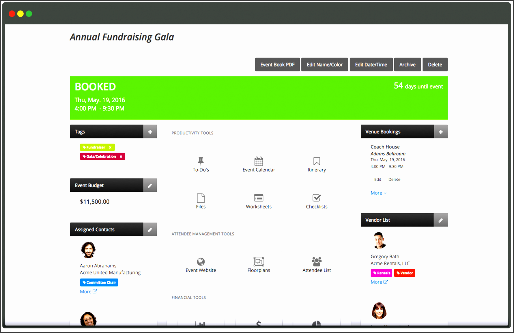 nonprofit event planning software