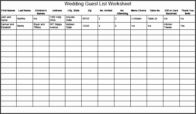 excel party guest list template 17 wedding guest list templates