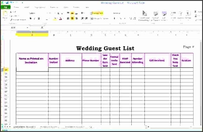 wedding guest list excel template 6 wedding guest list template