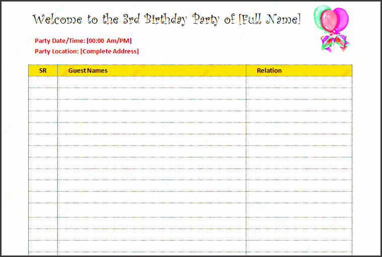 birthday guest list template featured image