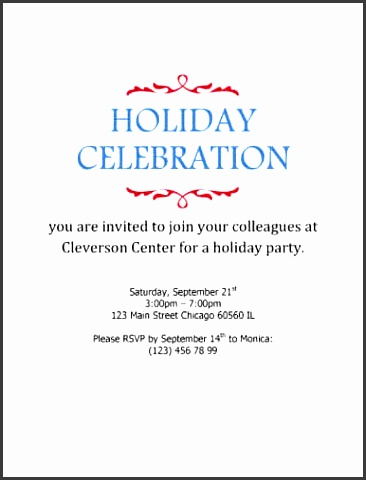holiday celebration simple corporate invitation