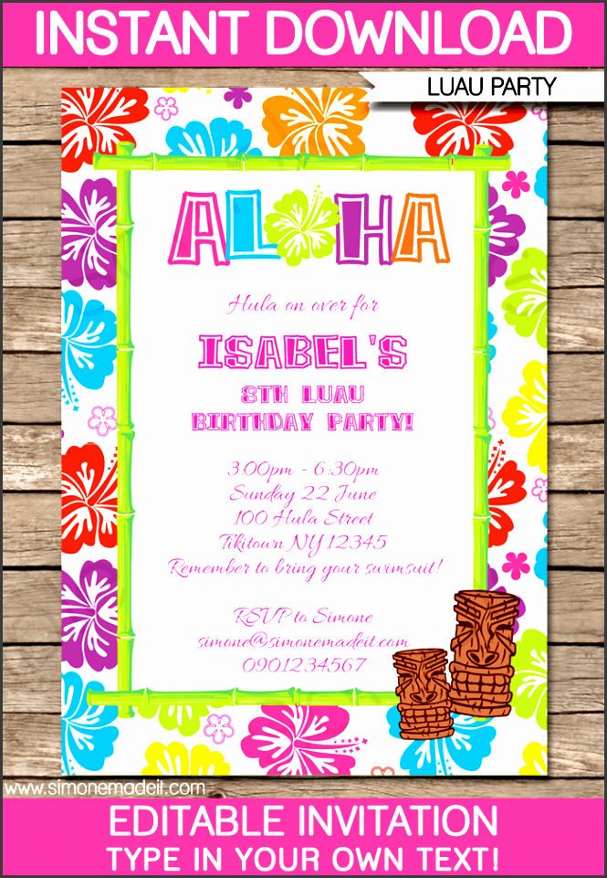 luau party invitations template