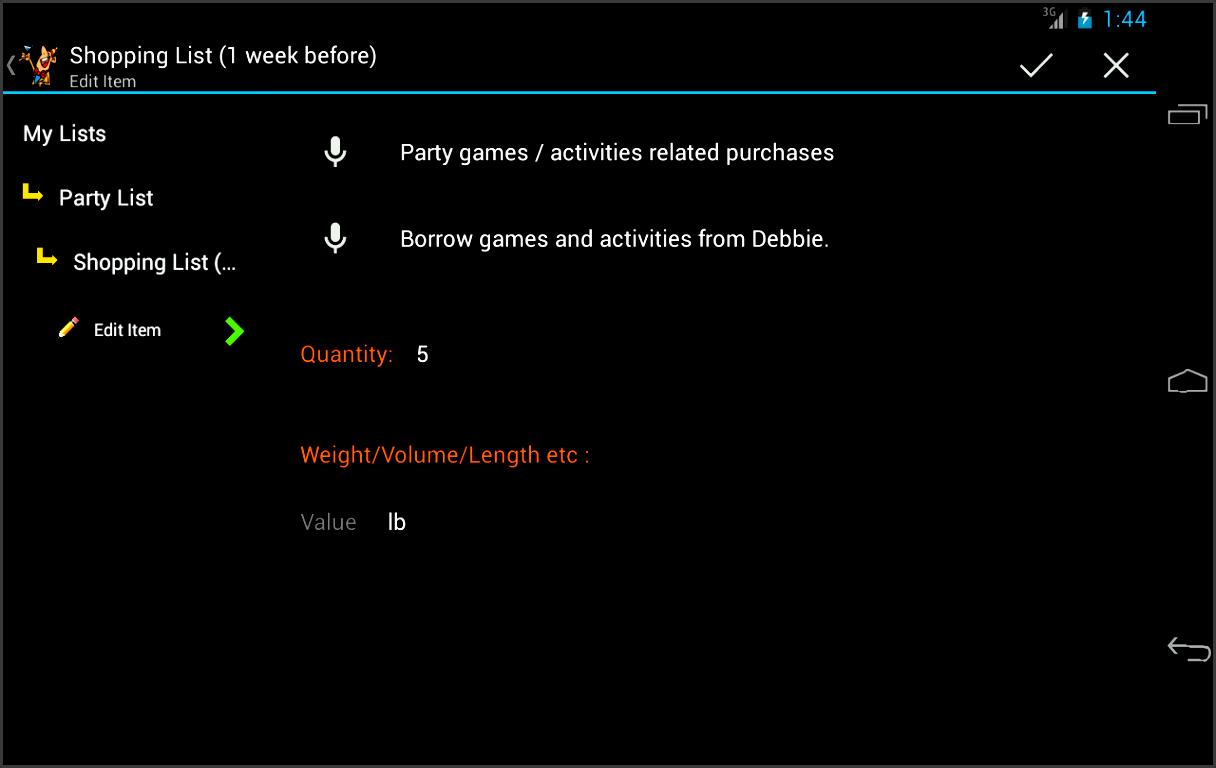 party planner screenshot