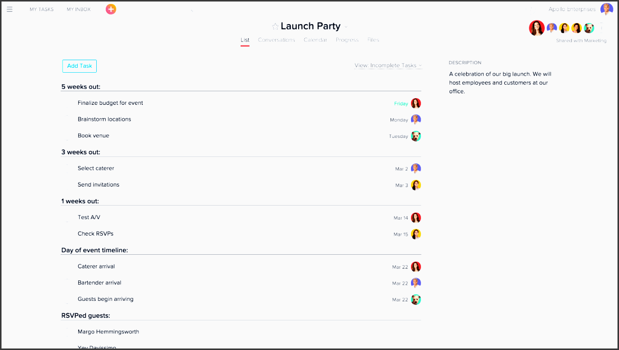 launch party project in asana