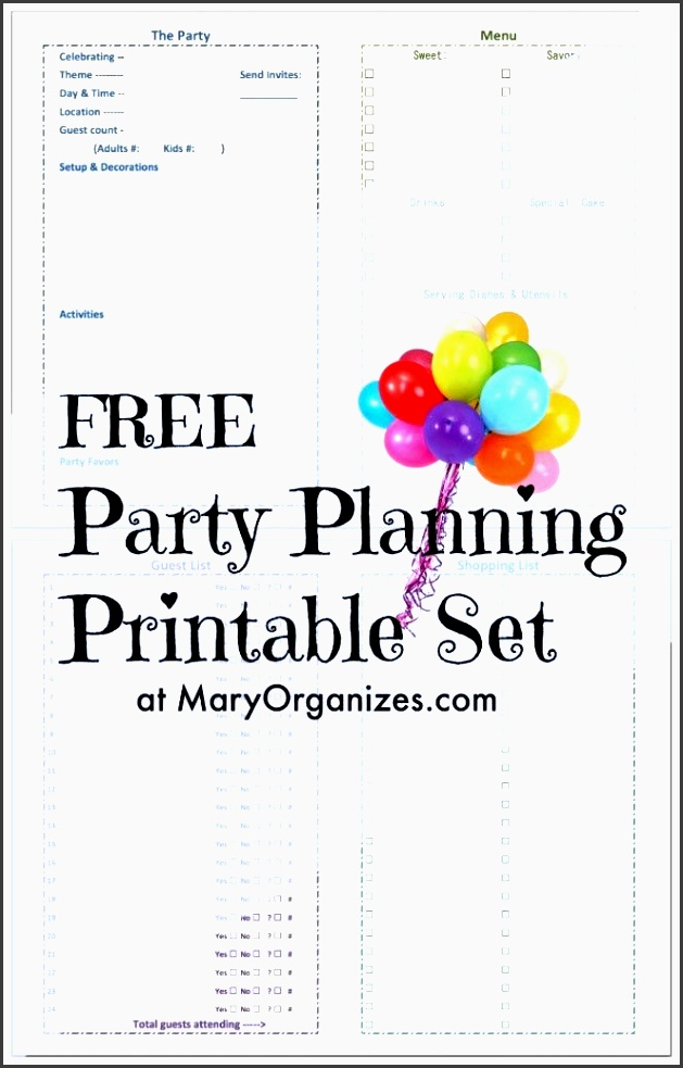 party planning printable set