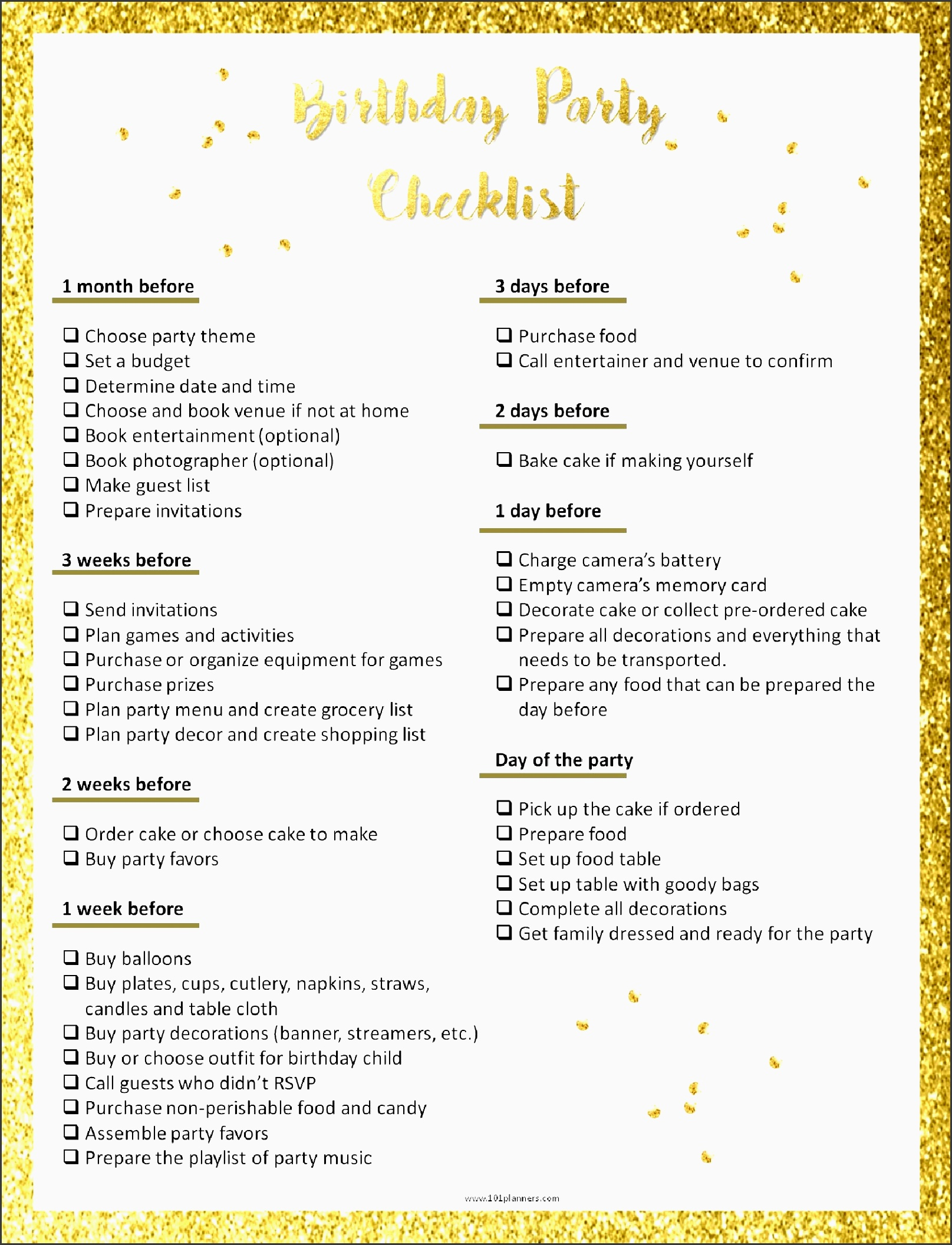 even though this is a kids birthday party checklist we are assuming that an adult is doing the planning so this checklist was designed for you and not for