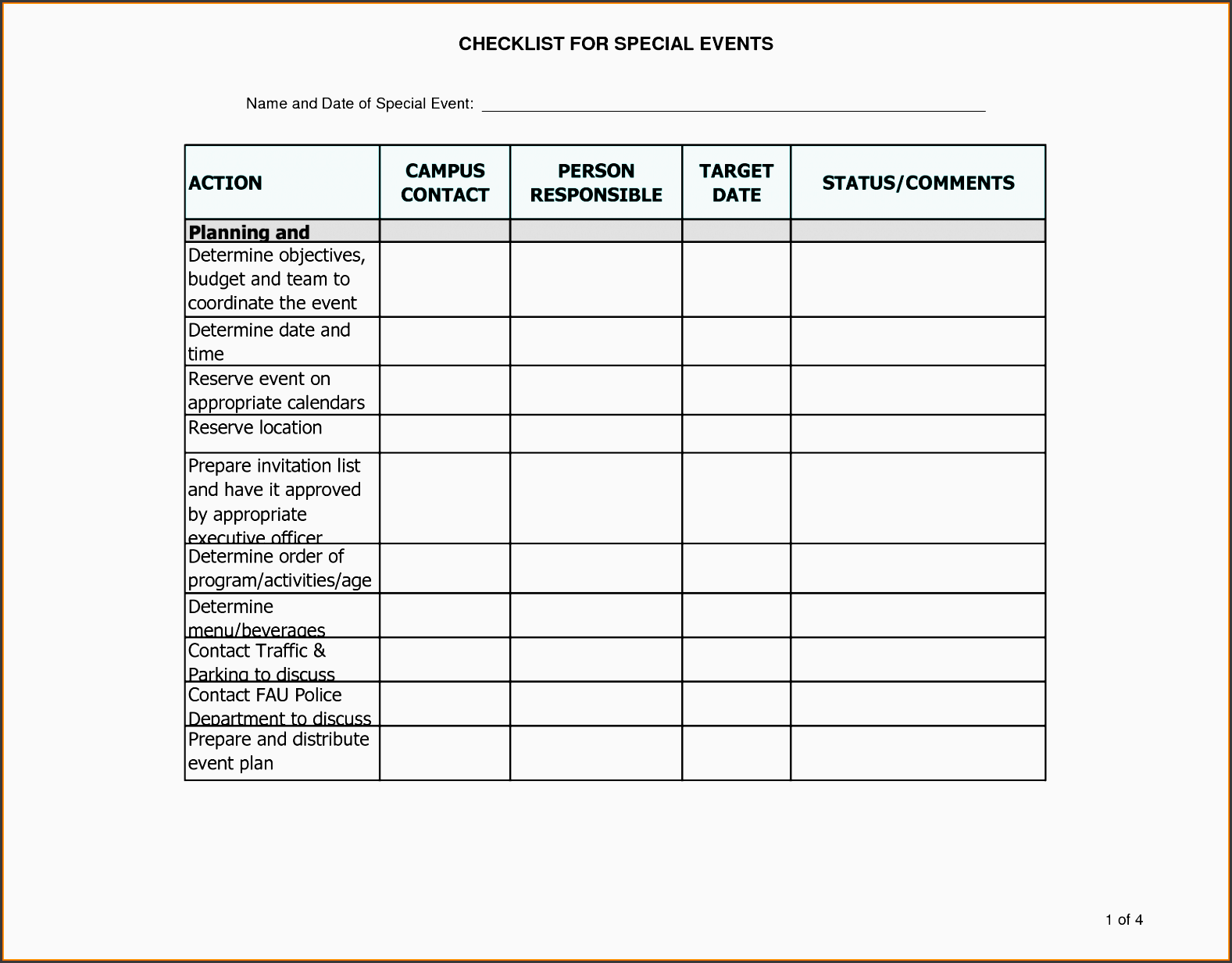 event planning checklist template event planning checklist