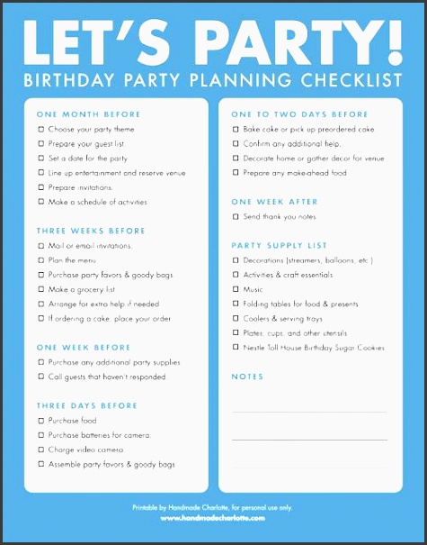 diy free printable birthday party checklist handmade charlotte