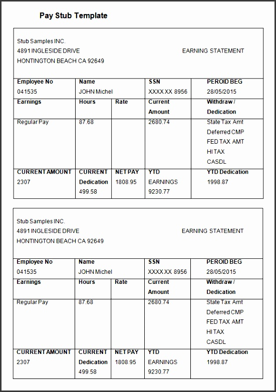 pay statements template