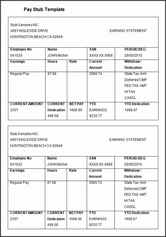 9 pay statement template - sampletemplatess