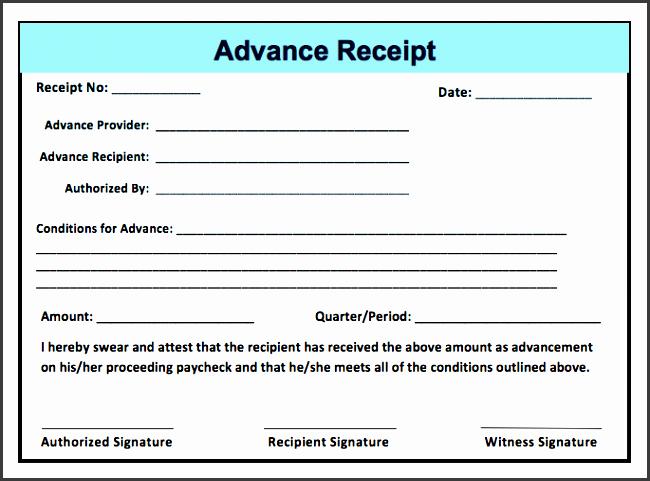 advance receipt template