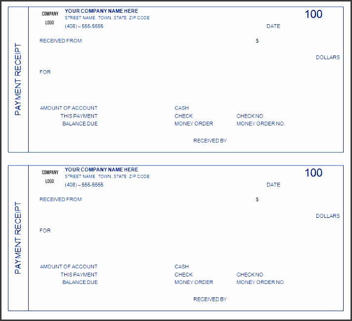 outstanding custom payment receipt form template with blue color and border 509 an