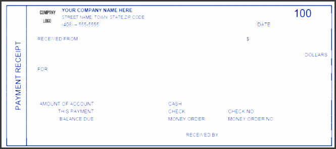 printable payment receipt template
