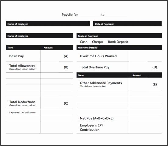 blank payslip template free