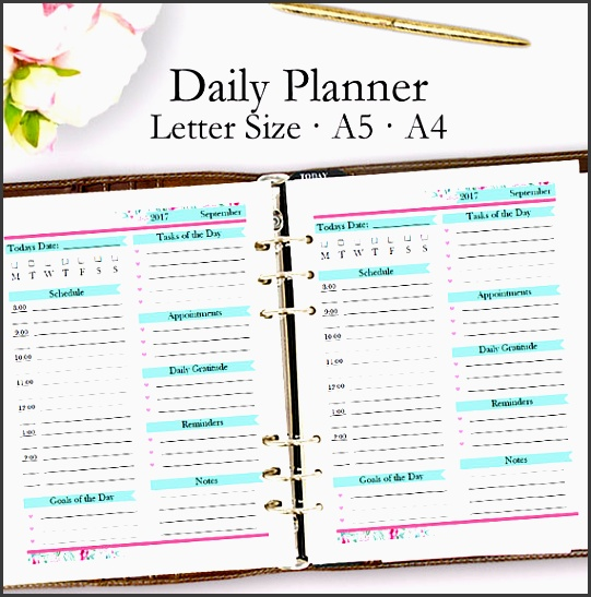 editable daily planner template pdf daily planner printable pdf appointments template printables day plan letter a5 a4 instant