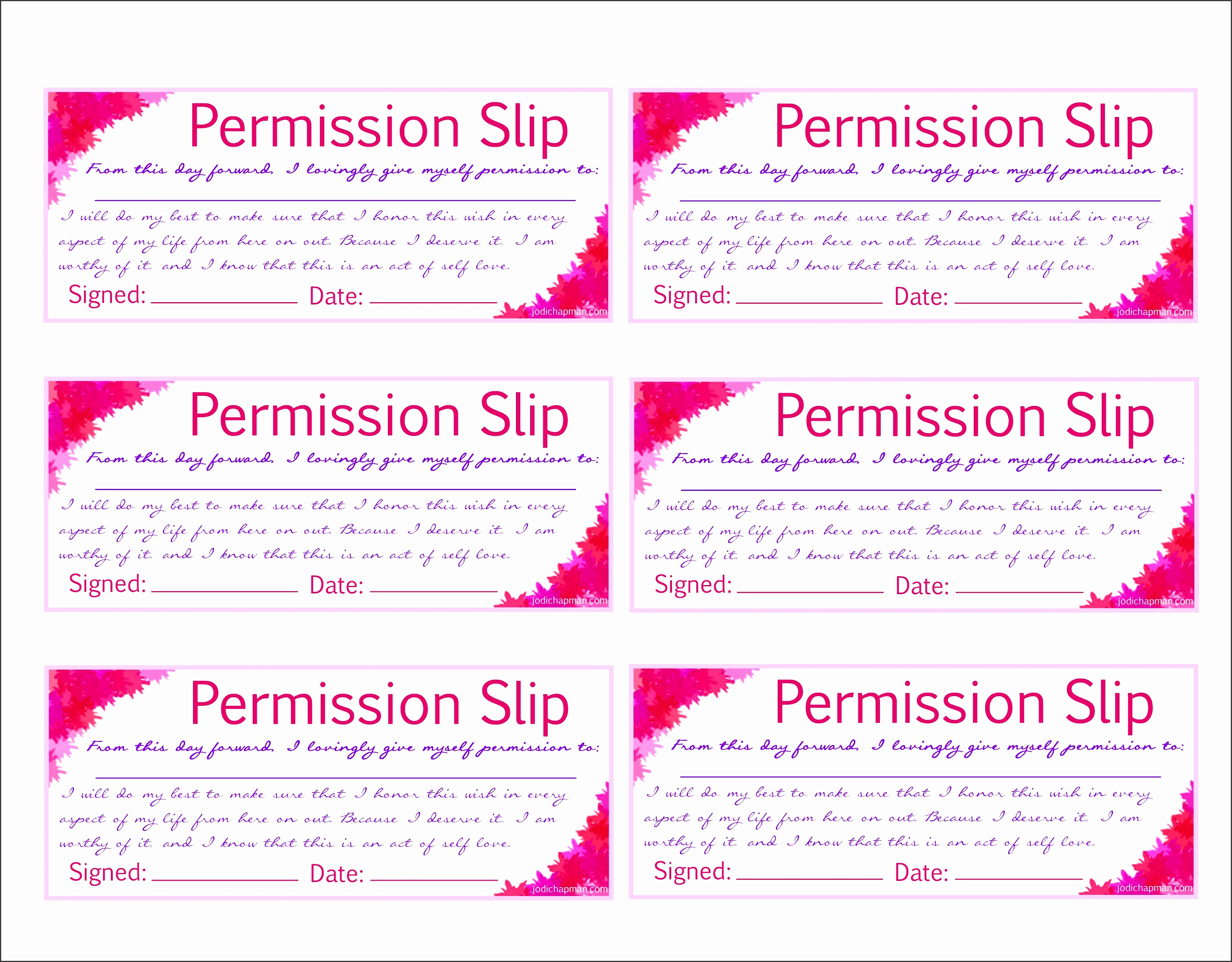 permission slip to print out