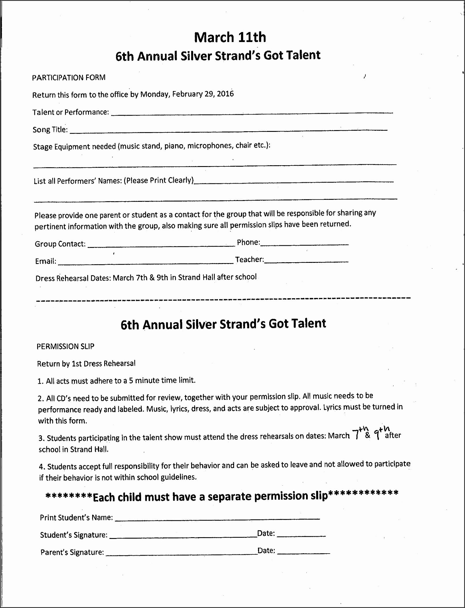 100 free permission slip template detention slips template talent 20show 20permission 20slip free permission slip template