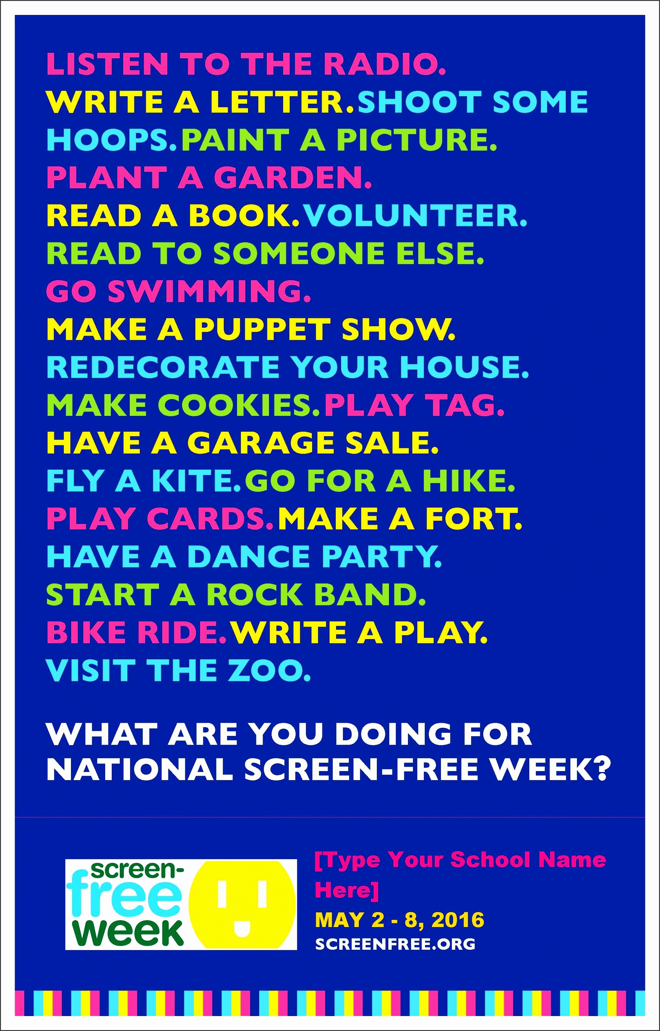 screen free week 5 2 8 sample flyer sample parent letter permission slip