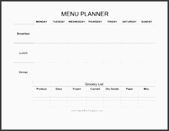 weekly menu planner with grocery list
