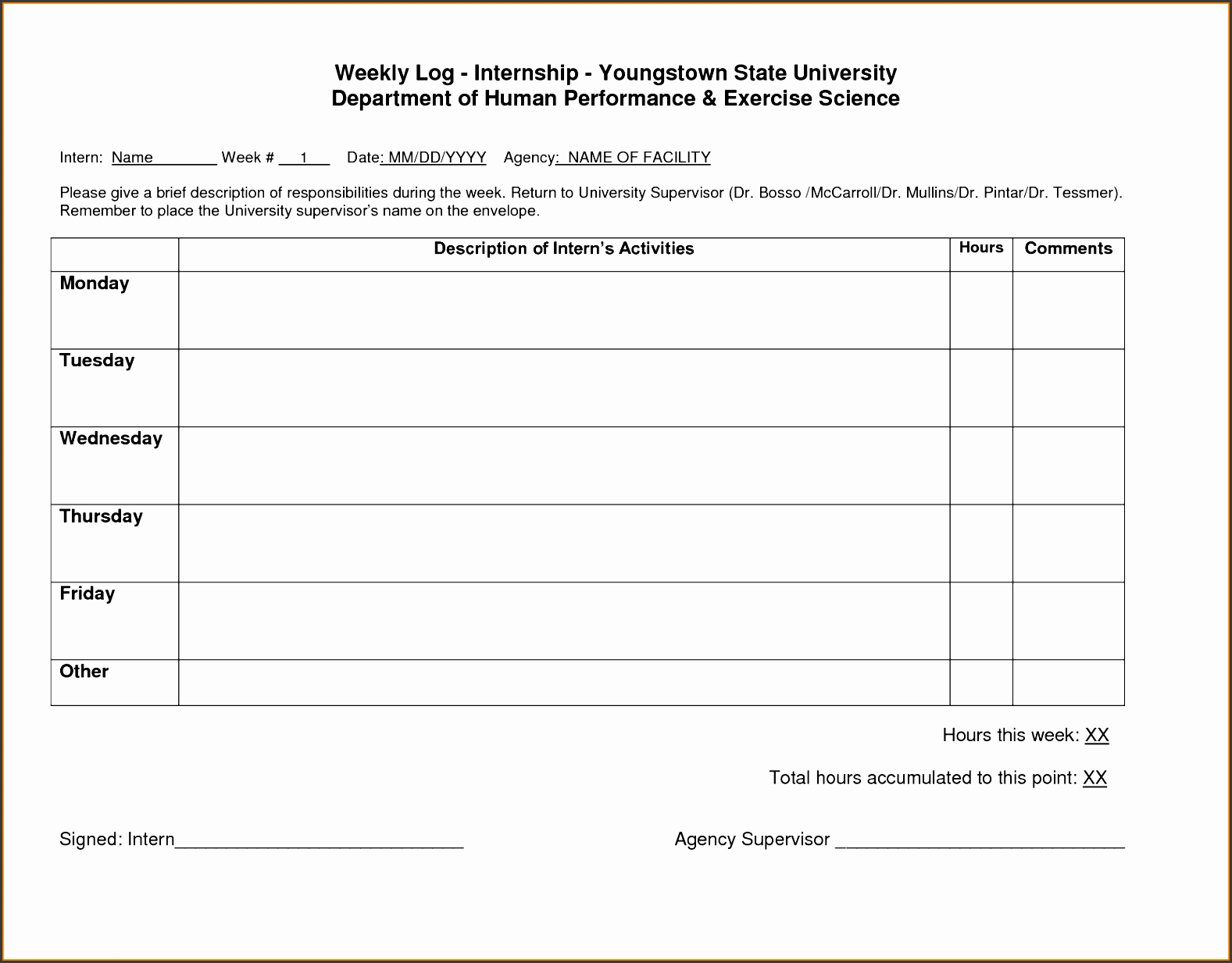 weekly log template