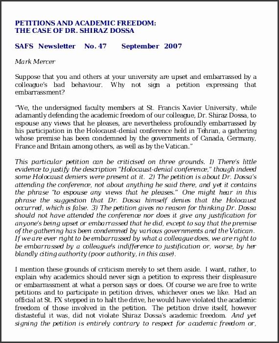 academic freedom petition
