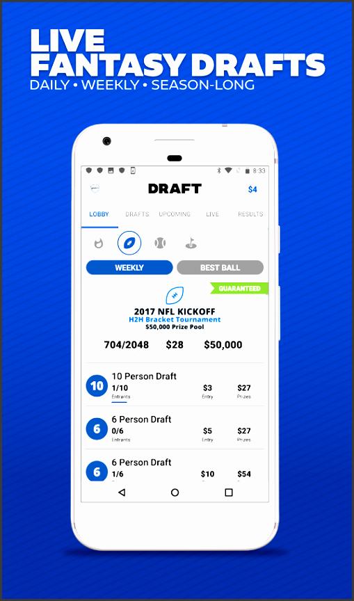 draft daily season long fantasy football drafts screenshot