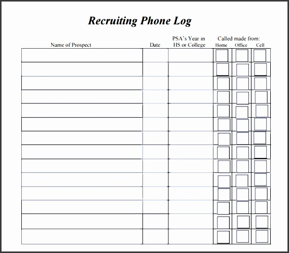 phone log template 8 free pdf doc in call log template