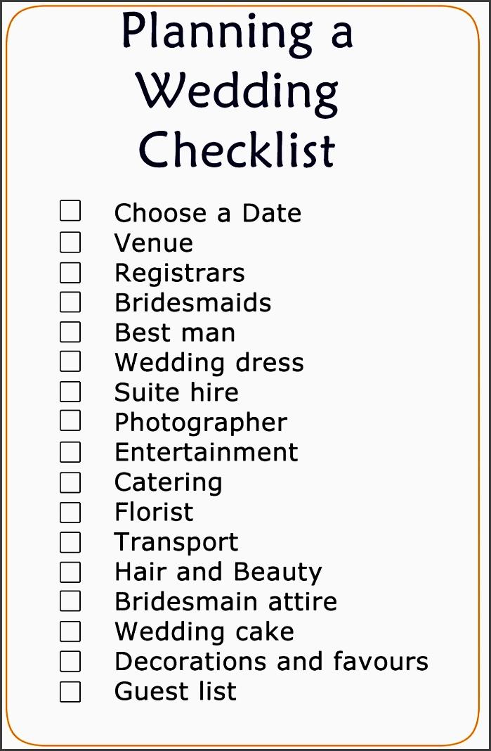 basic wedding checklist printable