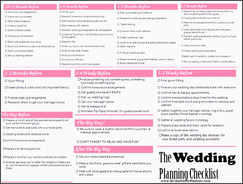 wedding planning checklist from