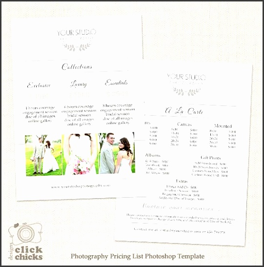 wedding photography pricing list template photography package pricing guide price list price sheet