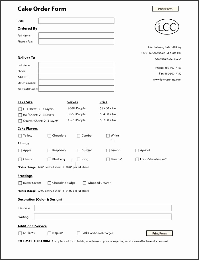 cake order contract cake order form template pdf