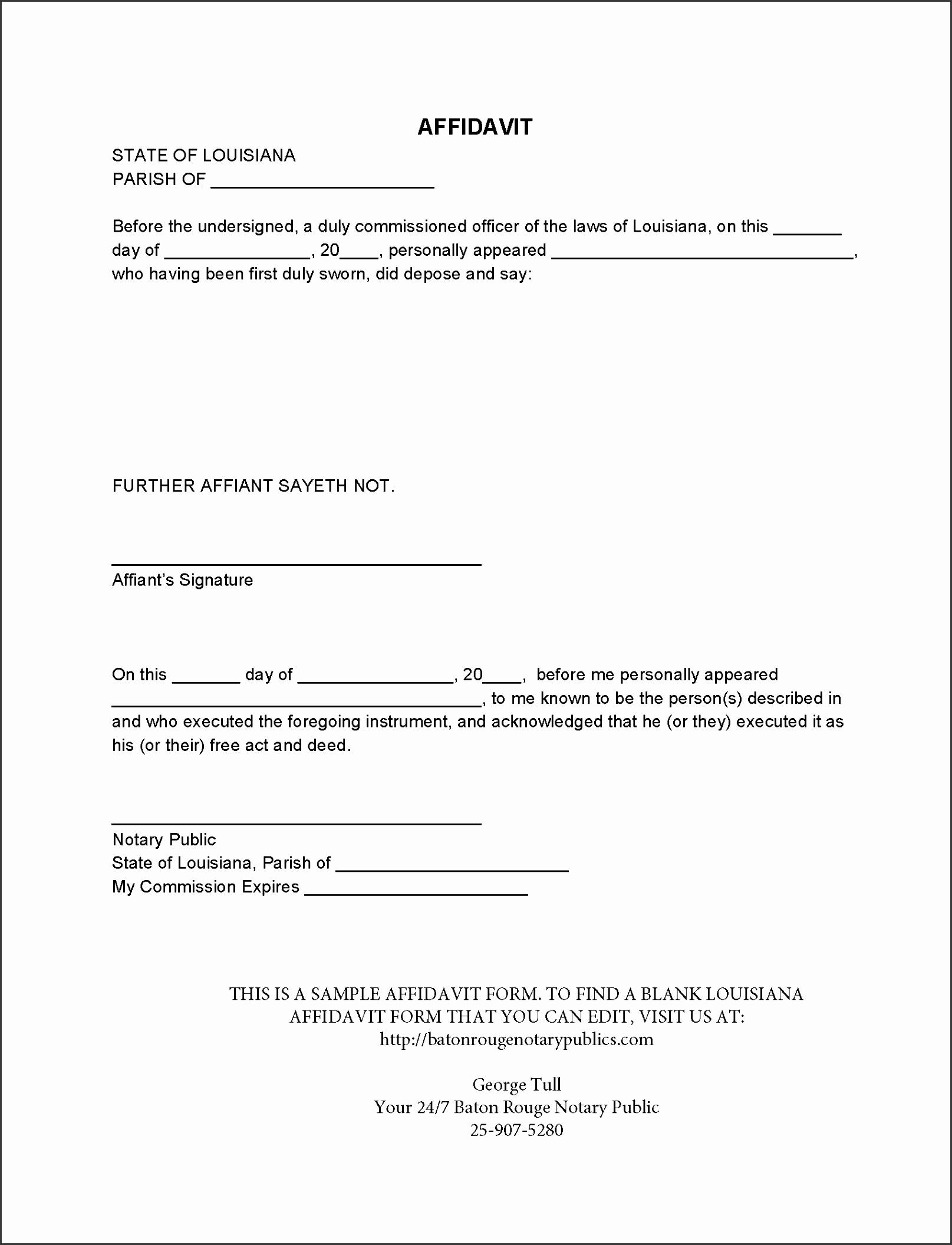 blank louisiana affidavit baton rouge notary publics sample affidavit