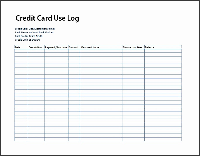 credit card statement template excel 5