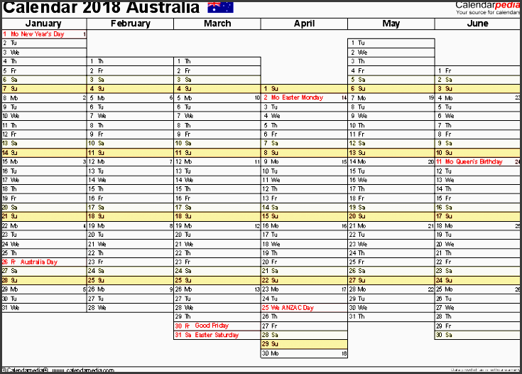 template 6 2019 calendar australia for pdf months horizontally 2 pages days