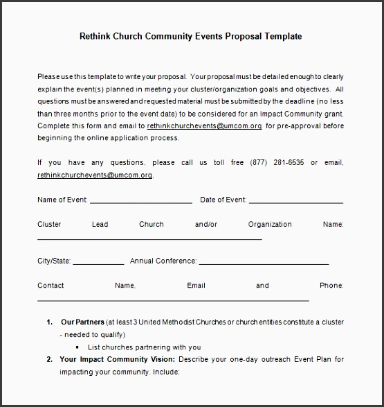 church event proposal free word