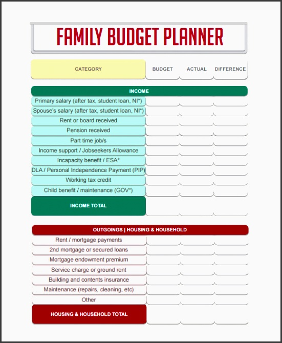 bud ing planner template